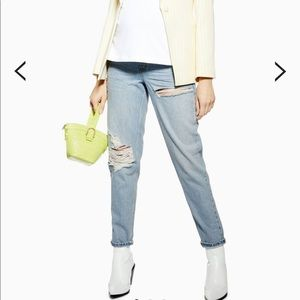 Topshop Maternity Over Bump Ripped Mom Jeans